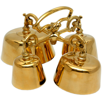 High polished brass Mass Sanctus bell Church Altar 4 bells handle 19cm