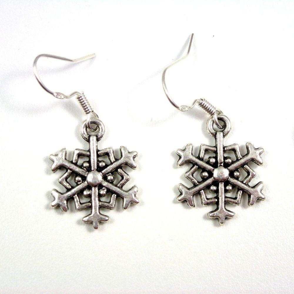 Christmas 2cm snowflake dangly drop earrings sterling silver hooks