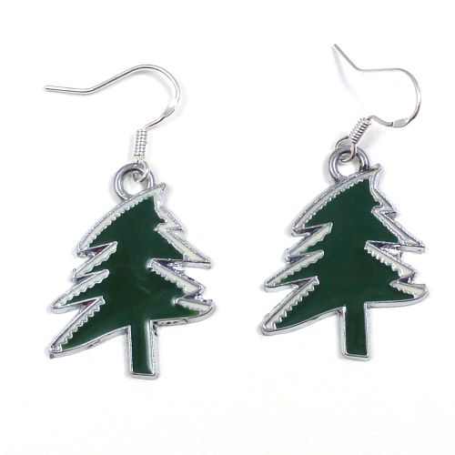 Christmas tree dark green 2cm dangly earrings sterling silver hooks