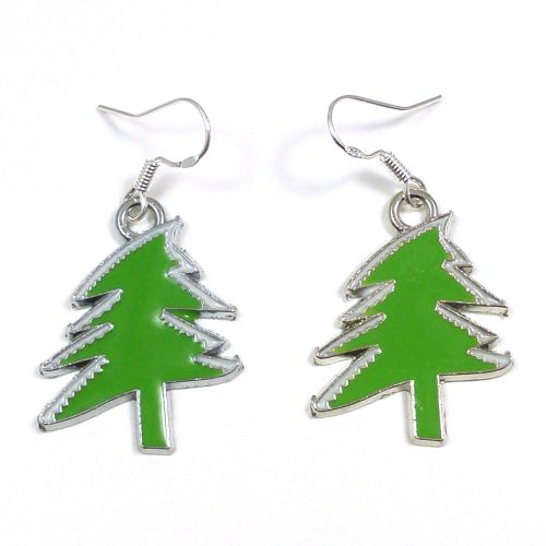 Christmas tree light green 2cm dangly earrings sterling silver hooks