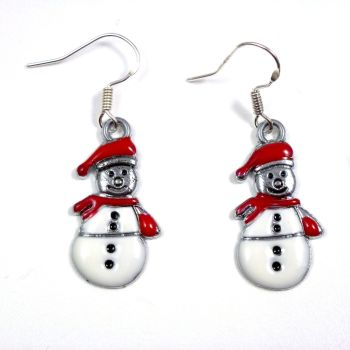 Christmas 2.5cm red white snowman dangly earrings sterling silver hooks