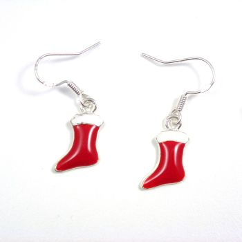 Christmas 2cm red stocking dangly drop earrings sterling silver hooks