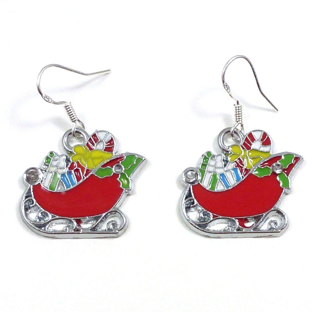 Christmas 2cm red Santa's sleigh dangly earrings sterling silver hooks