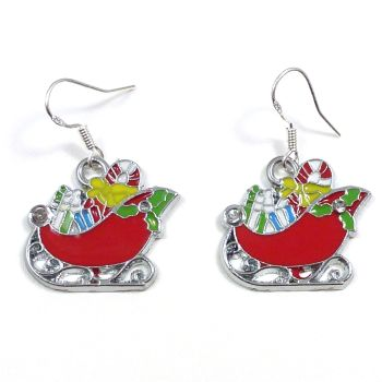 Christmas 2cm red Santa's sleigh dangly earrings sterling silver hooks