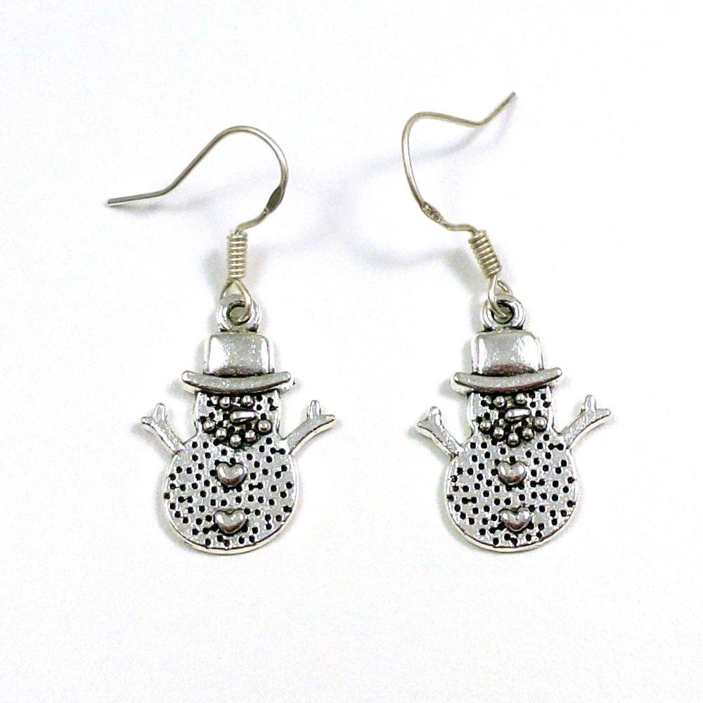 Christmas 2cm snowman hearts dangly earrings sterling silver hooks
