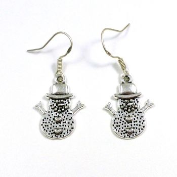 Christmas 2cm snowman hearts dangly earrings sterling silver hooks