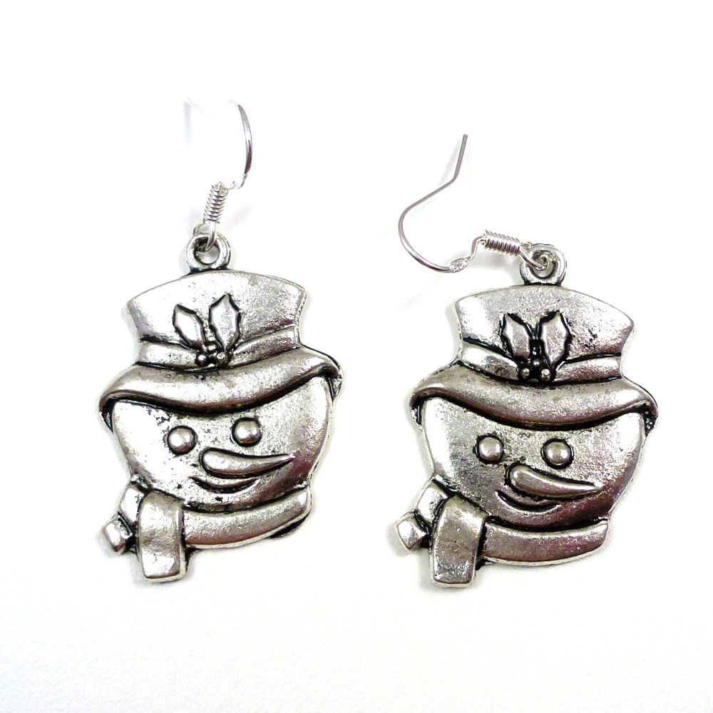 Christmas 3cm snowman head dangly earrings sterling silver hooks