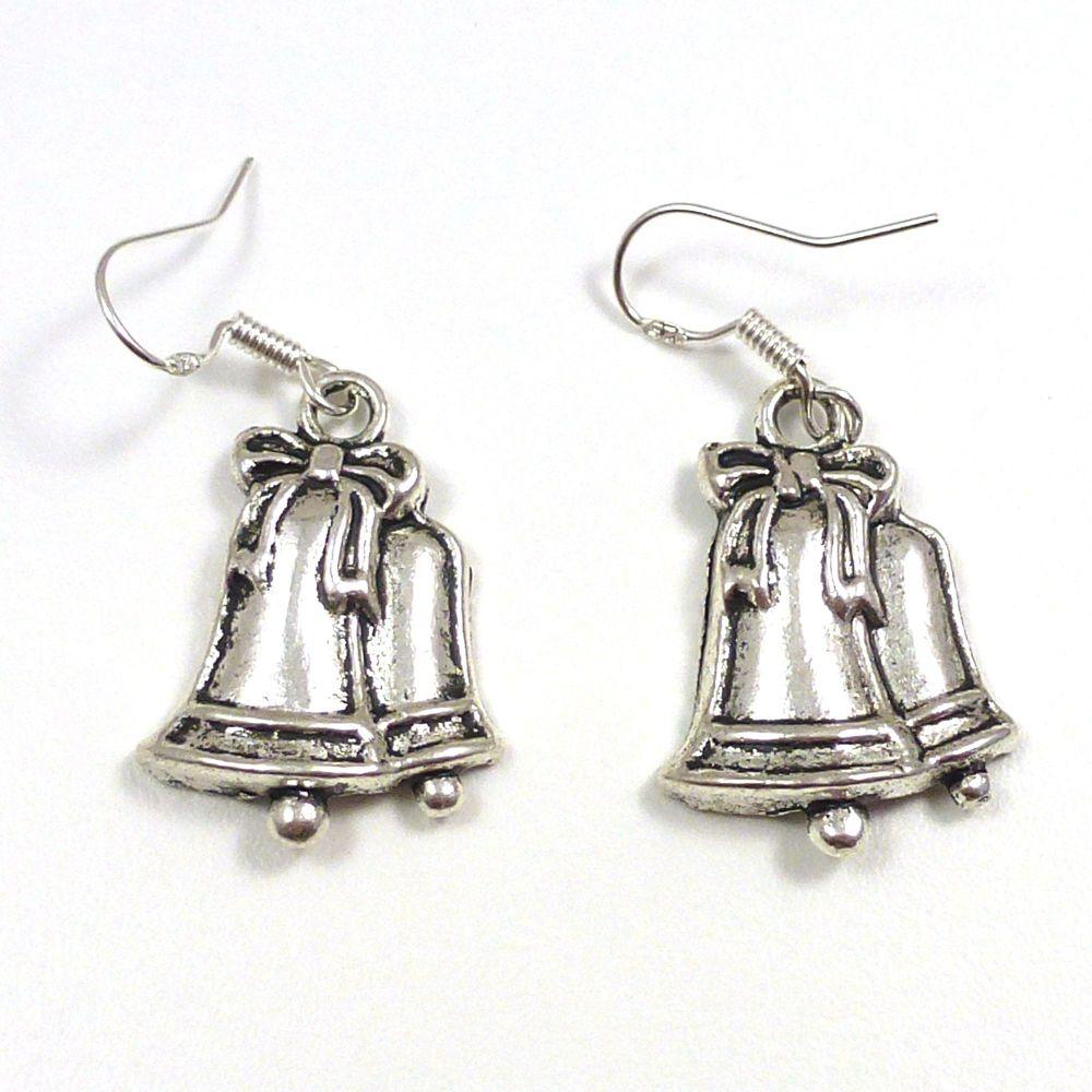 Christmas 2.5cm bells ribbon dangly earrings sterling silver hooks
