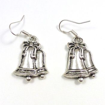 Christmas 2.5cm bells ribbon dangly earrings sterling silver hooks
