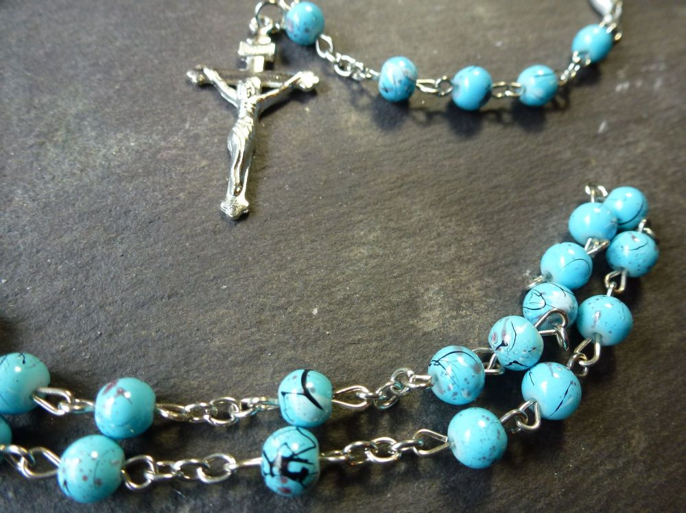 Blue turquoise style painted 6mm beads Rosary beads necklace