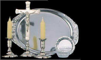 Sick call set 6 piece with crucifix tray + candles silver colour
