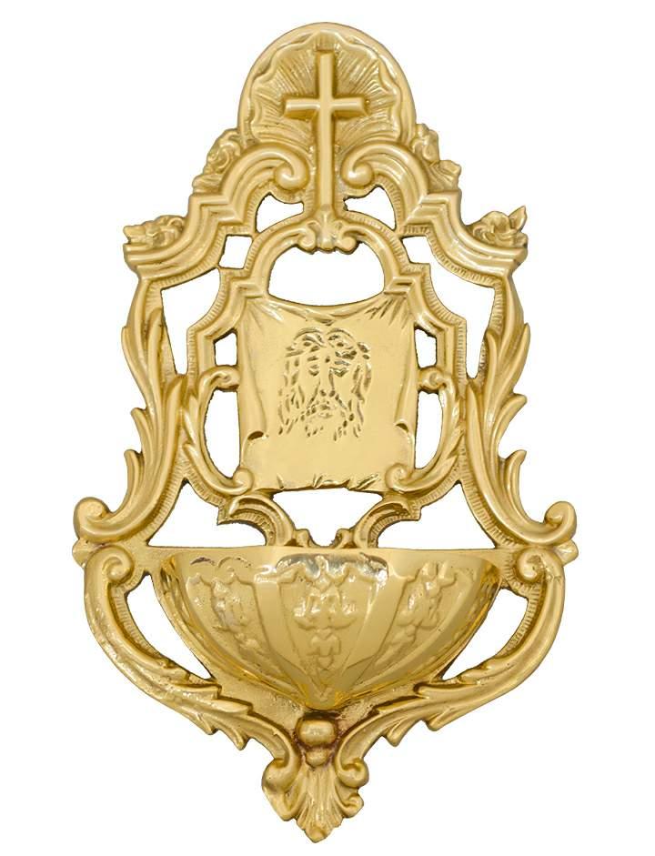 Catholic church wall mounted holy water font polished brass 19cm polished