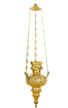 Church hanging chain vigil oil candle polished brass 30cm