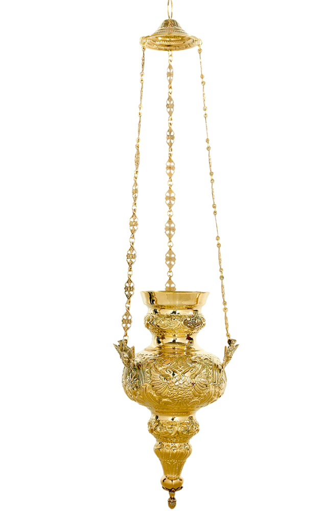 Catholic church hanging chain vigil oil candle polished brass 30cm