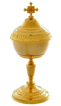 Church hand carved polished brass Ciborium Eucharist vessel 25cm