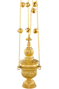 Orthodox church censer incense burner thurible polished brass 24cm
