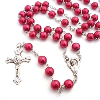 Long red metal long Catholic rosary beads with Our Lady center