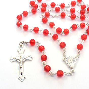 Deep bright red Catholic rosary beads Our Lady center