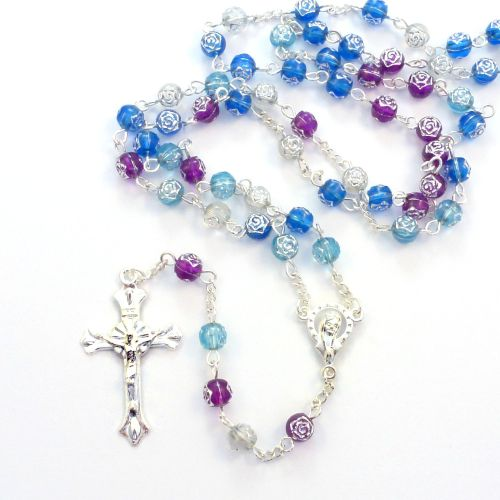 Purple blue rose flower plastic rosary beads necklace 56cm length silver ce