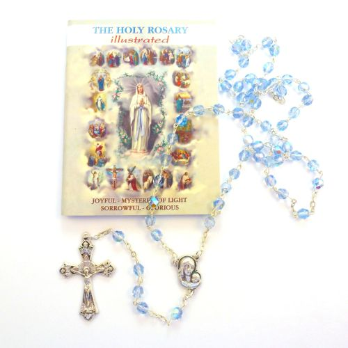 Glass faceted iridescent blue rosary beads holy mysteries rosary booklet gi