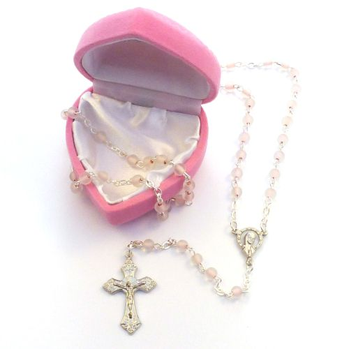 My 1st rosary childs girl pink glass small rosary beads