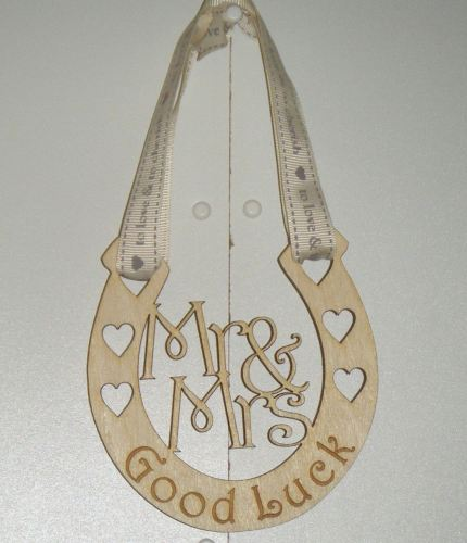 Wooden Horseshoe Good Luck Wedding Gift
