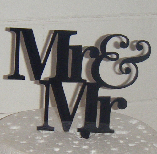 Mr + Mr Acrylic Cake Topper