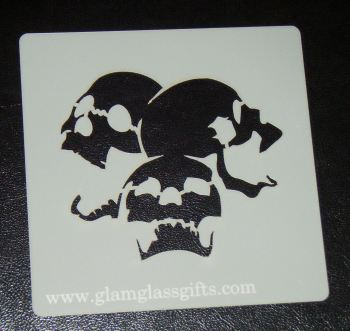 Skull Stencil 3 Cake airbrish craft etc