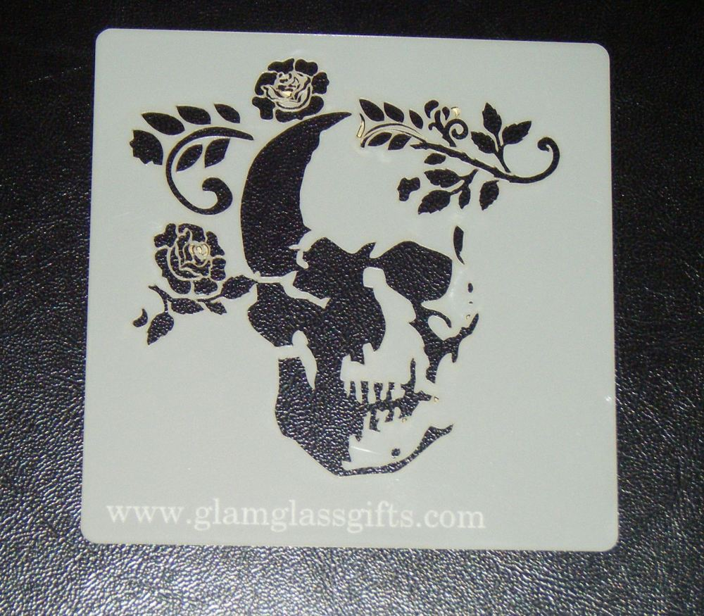 Skull and flower Stencil