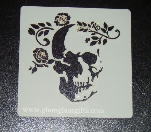 Skull and flower Stencil