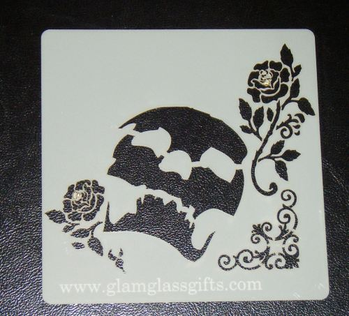 Skull and flowers 2 Stencil