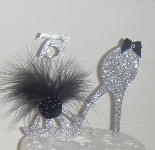 Bespoke Glitter Acrylic Cake Topper High Heel Shoe Age