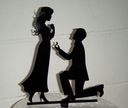 Proposal Silhouette Acrylic Cake Topper