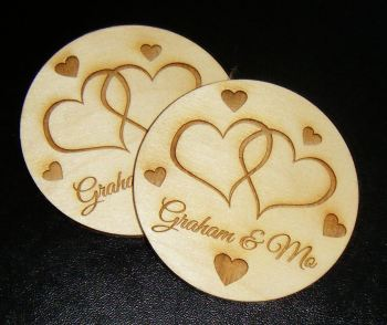 Love Heart Personalised Wooden Coaster Set