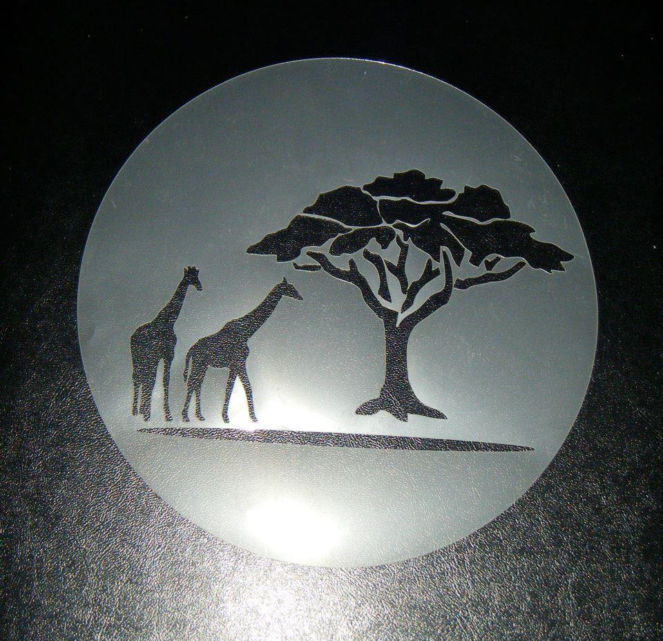 African Safari scene Stencil