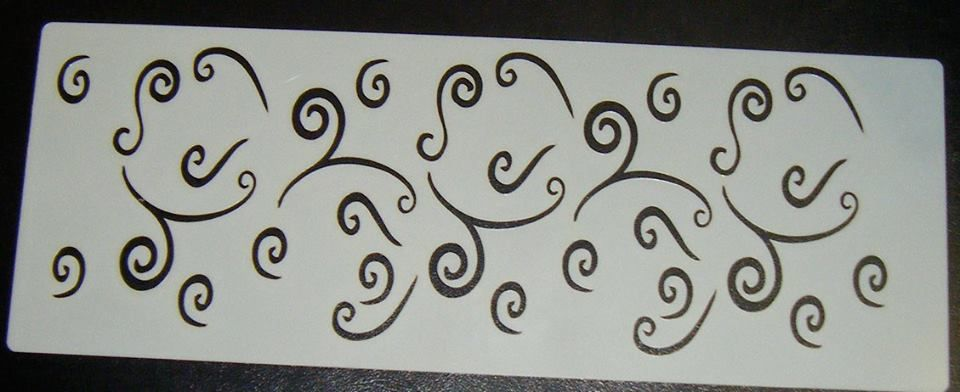 Swirls Pattern Cake decorating stencil set Airbrush Mylar Polyester Film