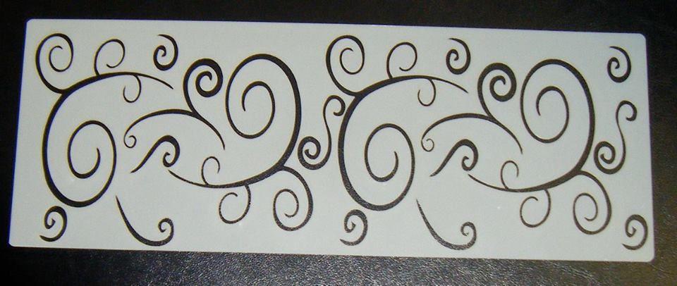 Swirls curls Pattern Cake decorating stencil set Airbrush Mylar Polyester F