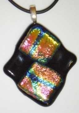 Dichroic Squares pendant with Pink Green and blue