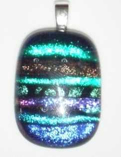 Dichroic Stripes Greens and purples glass pendant necklace
