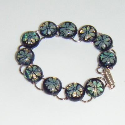 Dichroic Glass Flower Cabochon Bracelet