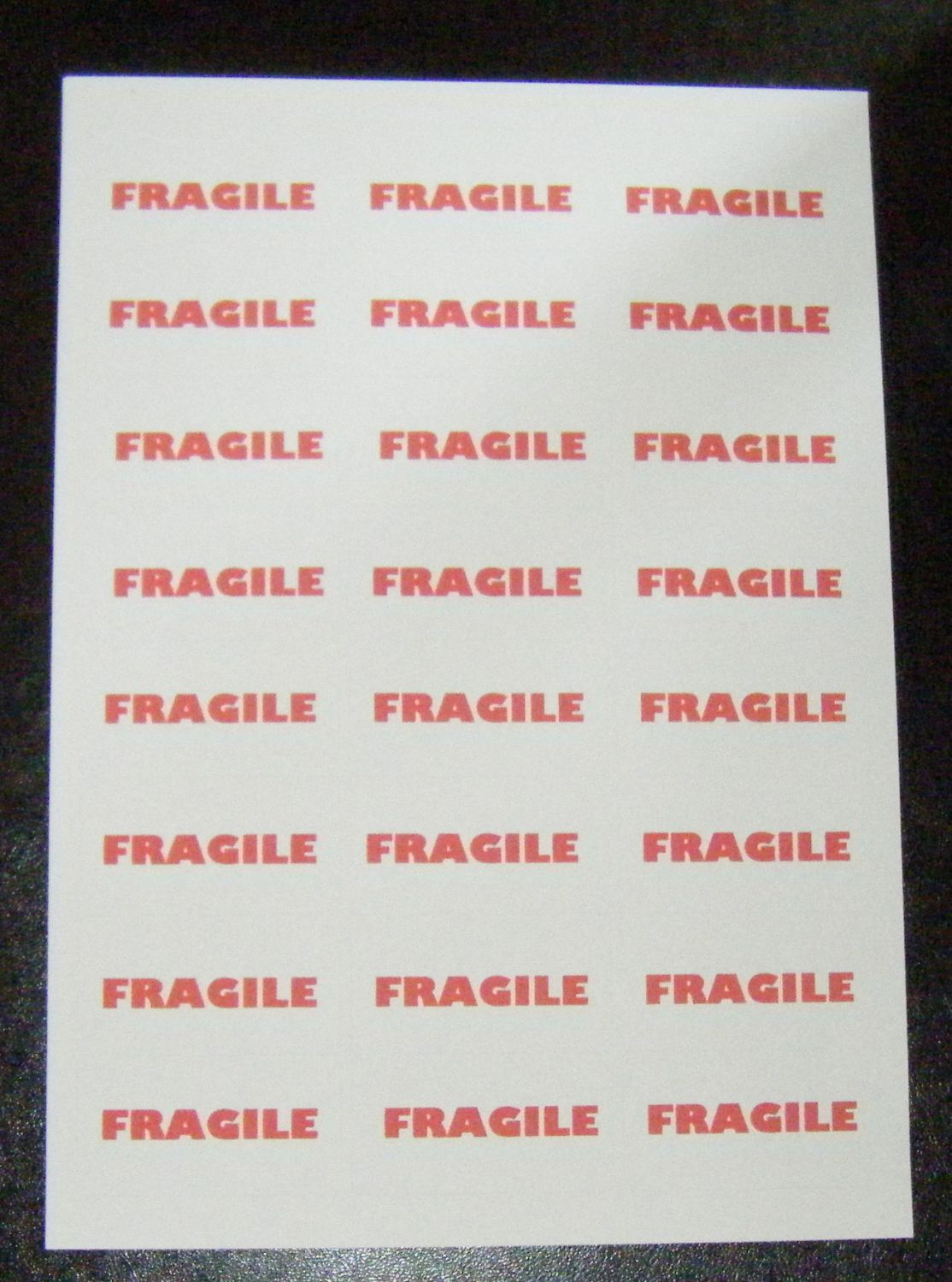 A4 Sheet of FRAGILE Stickers