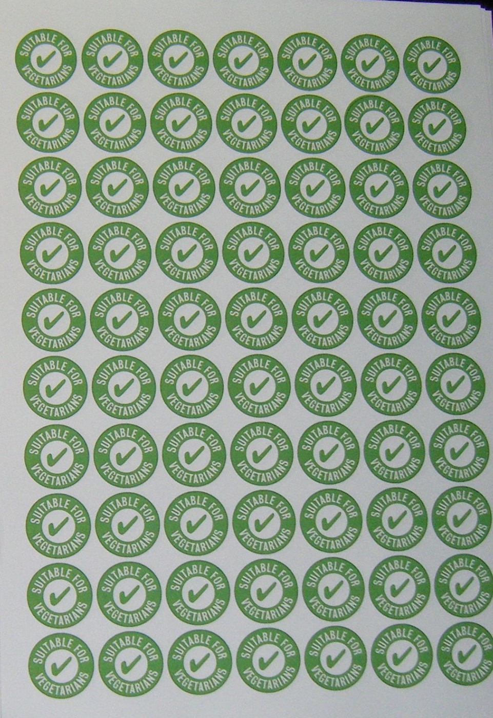 A4 Sheet of Vegetarian Stickers