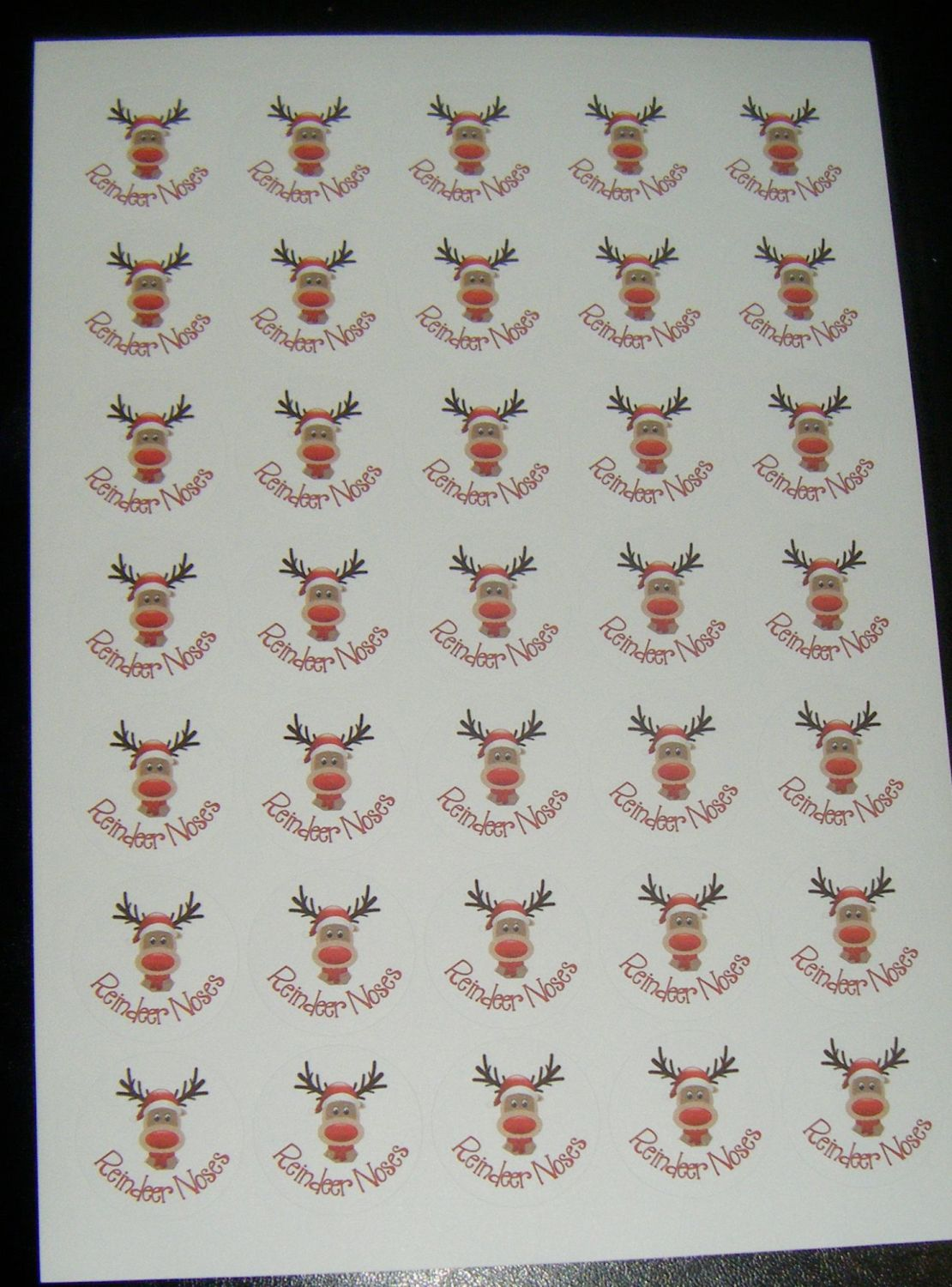 A4 Sheet of Round Reindeer Noses Stickers