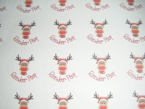 A4 Sheet of Round Reindeer poop Stickers