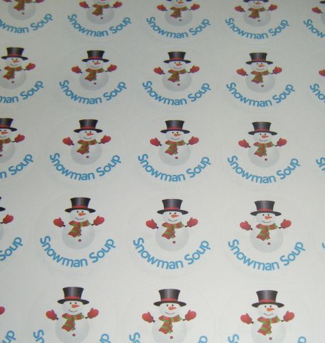 A4 Sheet of Round Snowman Soup Stickers