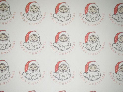 A4 Sheet of Round Merry Christmas Santa Stickers