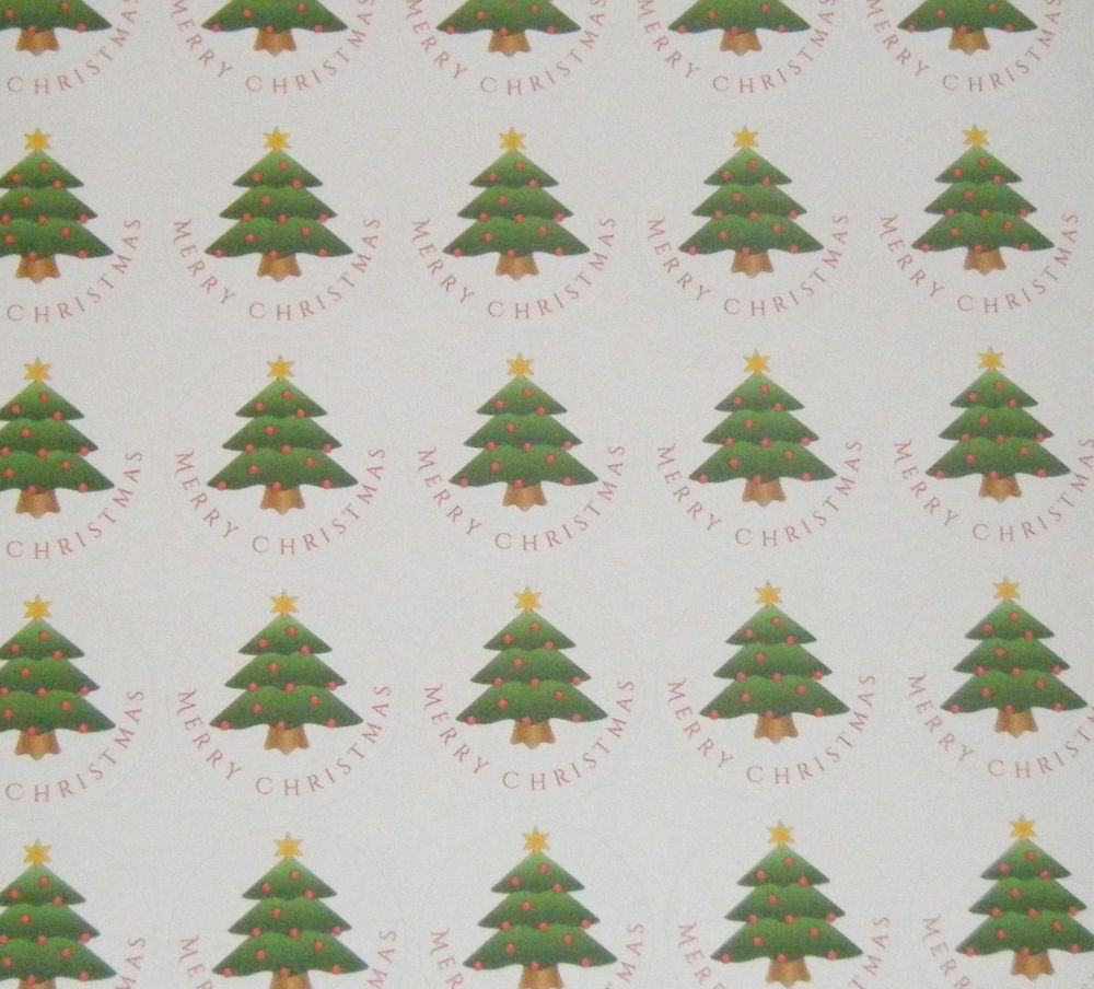 A4 Sheet of Round Merry Christmas Xmas Tree Stickers