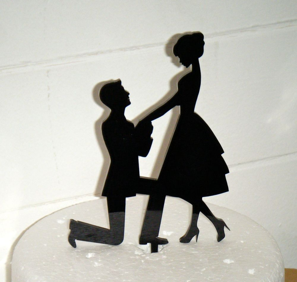 Proposal Silhouette Acrylic Cake Topper  2
