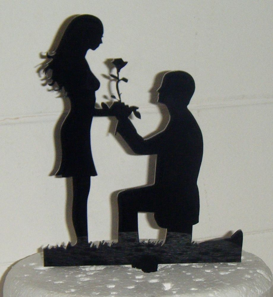 Proposal Silhouette Acrylic Cake Topper 3