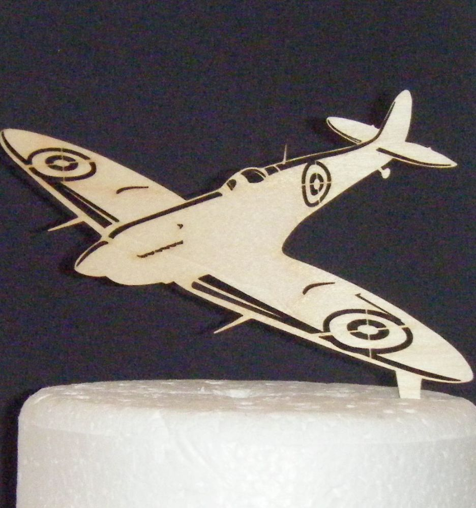 Spitfire Airplane Birch Wooden Cake Topper